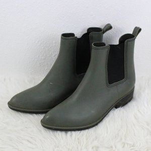Urban Outfitters ankle rain boots olive green